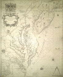 A New Map of VIRGINIA. MARYLAND, PENSILVANIA, NEW JERSEY, Part Of NEW YORK And CAROLINA